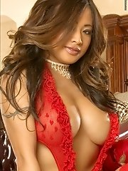 Melissa Telore in Exotic Small Girl in Red Lingerie and Fishnet Stockings